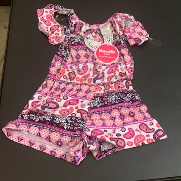 Nannette Kids Pink/Purple One Piece Outfit 4T NWT